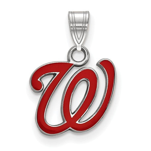 Sterling Silver MLB LogoArt Washington Nationals Small Enamel Pendant