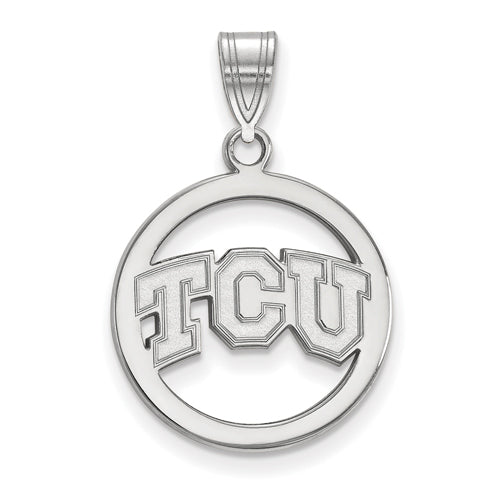 SS Texas Christian University Med TCU Pendant in Circle