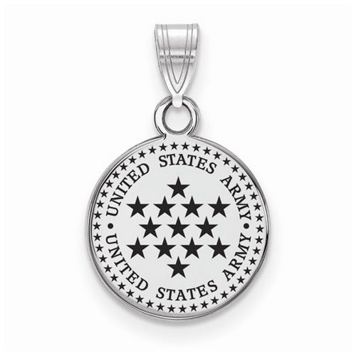 Sterling Silver Small United States Army Epoxied Disc Pendant