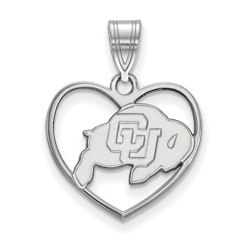 SS University of Colorado Buffalo Pendant in Heart