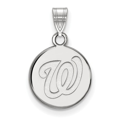 Sterling Silver MLB LogoArt Washington Nationals Small Disc Pendant