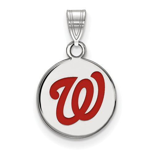 Sterling Silver MLB LogoArt Washington Nationals Sm Enl Disc Pendant