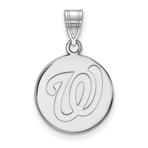 Sterling Silver MLB LogoArt Washington Nationals Medium Disc Pendant