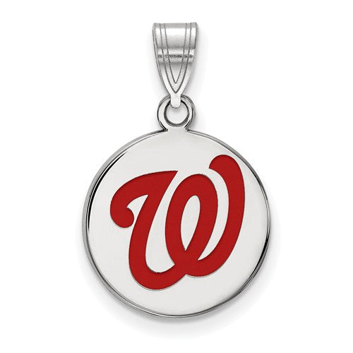Sterling Silver MLB LogoArt Washington Nationals Med Enl Disc Pendant