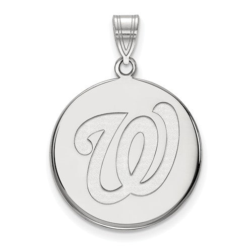 Sterling Silver MLB LogoArt Washington Nationals Large Disc Pendant