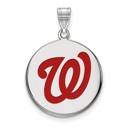 Sterling Silver MLB LogoArt Washington Nationals Lg Enl Disc Pendant