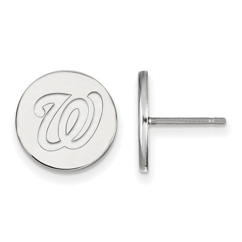 Sterling Silver MLB LogoArt Washington Nationals Small Disc Earrings
