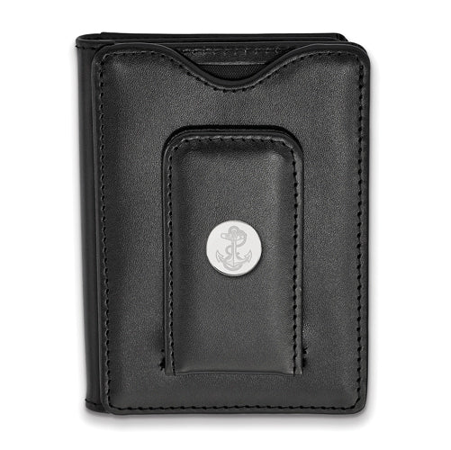 SS Navy Anchor Black Leather Money Clip Wallet