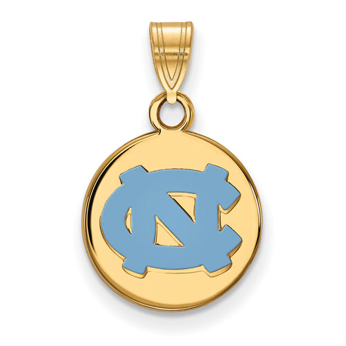 SS University of North Carolina Small Enamel NC Logo Disc Pendant