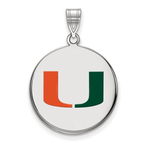 SS University of Miami Large Enamel Disc Pendant