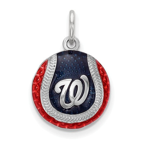 Sterling Silver Washington Nationals Small Enameled Baseball Charm