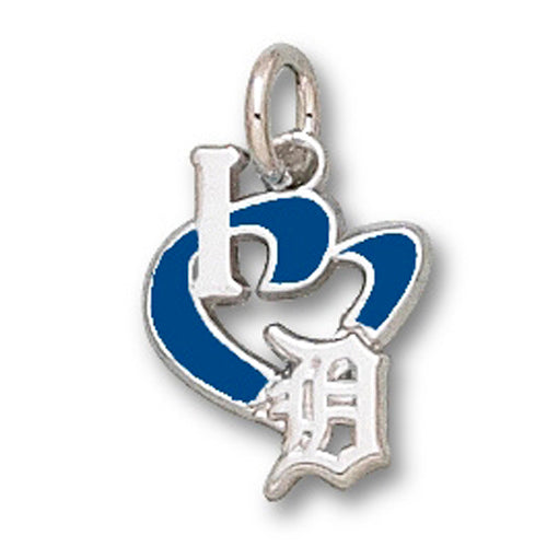 Detroit Tigers I Heart Logo with Enamel Pendant