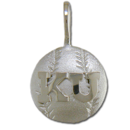 University of Kansas KU Basketball Silver Pendant