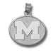 University of Michigan M POLISHED OVAL Silver Pendant