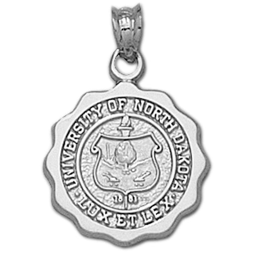 University of North Dakota SEAL SCALLOPED Silver Pendant