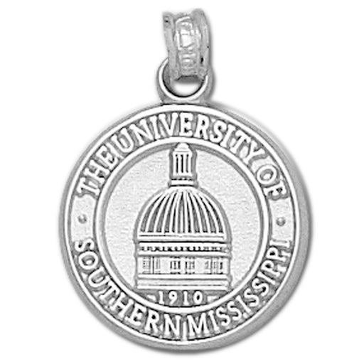 University of Southern Mississippi Dome Seal Silver Pendant
