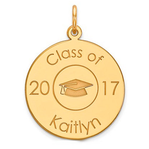 Class Of Graduation Personalized Pendant With Cap - 14 kt Gold