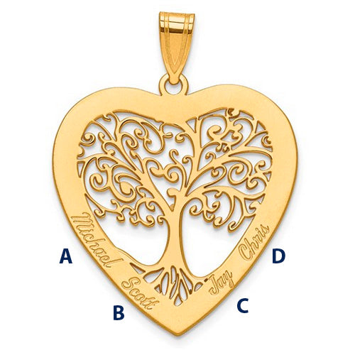 Family Tree Heart Pendant