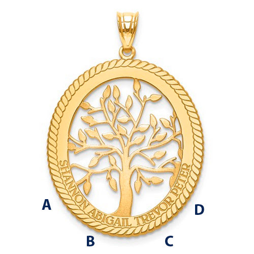 Family Tree Oval Pendant - 4 Names
