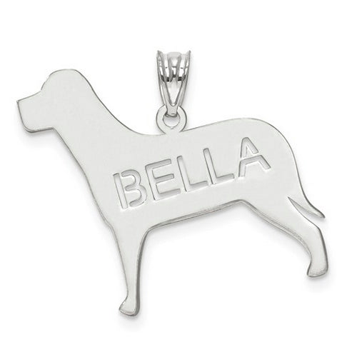 Sterling Silver Rhodium-plated Laser Polished Dog Name Pendant