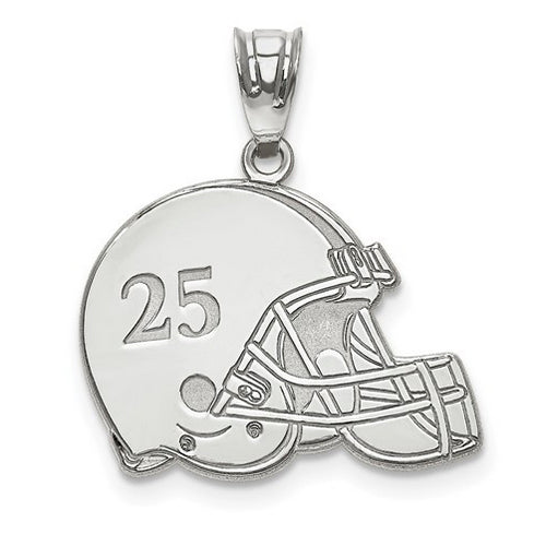 Sterling Silver Rh-plt Laser Football Helmet Number And Name Pendant
