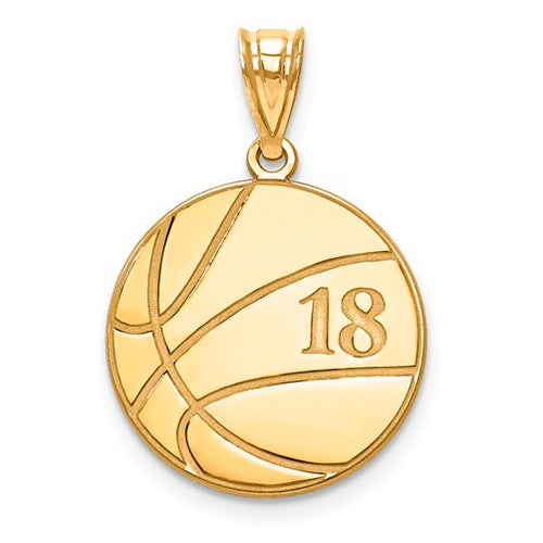 Gold Plated/SS Laser Basketball Number And Name Pendant
