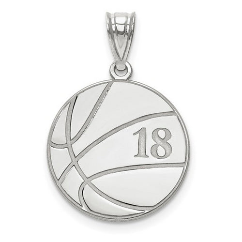 Sterling Silver Rhod-plated Laser Basketball Number And Name Pendant