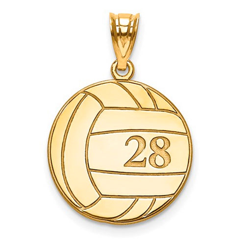 Gold Plated/SS Laser Volleyball Number And Name Pendant