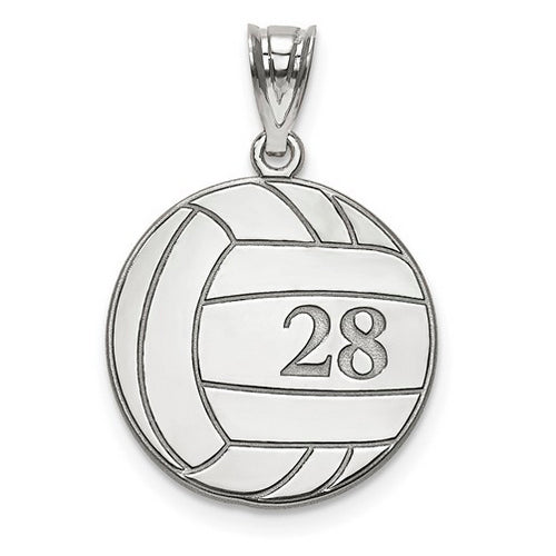 Sterling Silver Rhod-plated Laser Volleyball Number And Name Pendant