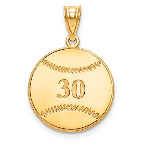 Gold Plated/SS Laser Baseball Number And Name Pendant