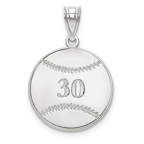 Sterling Silver Rhodium-plated Laser Baseball Number And Name Pendant