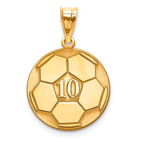 Gold Plated/SS Laser Soccer Number And Name Pendant