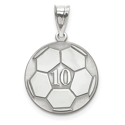 Sterling Silver Rhodium-plated Laser Soccer Number And Name Pendant