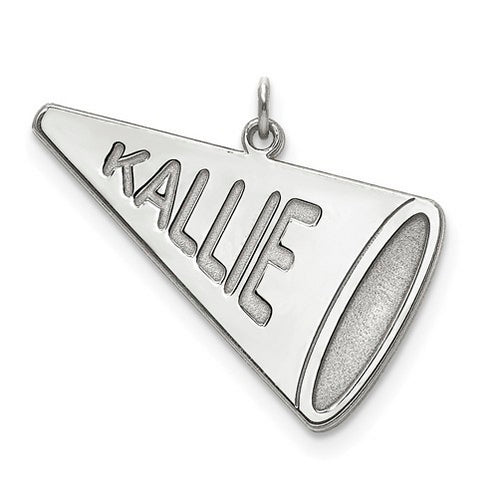 Sterling Silver Rhodium-plated Laser Polished Name Megaphone Charm