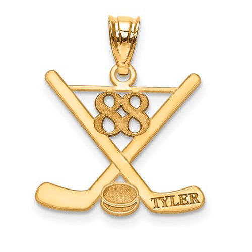 GP Laser Polished Name And Number Hockey Pendant