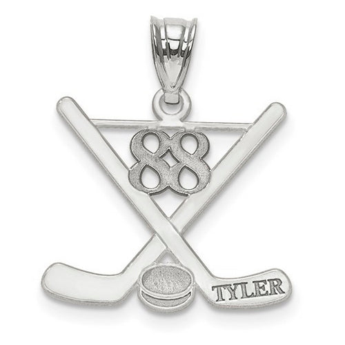 Sterling Silver Rh-plt Laser Polished Name And Number Hockey Pendant