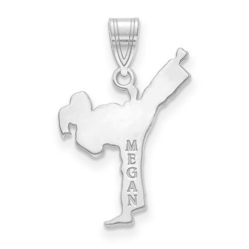 Sterling Silver Rhodium-plated Laser Polished Name Karate Charm