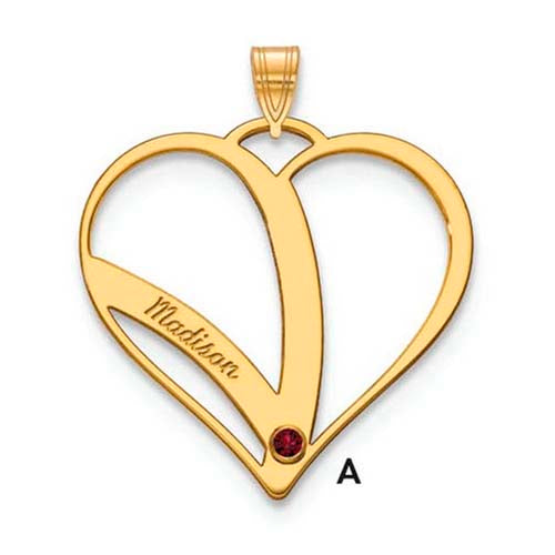Mothers Heart Pendant With 1 Name and Birthstone