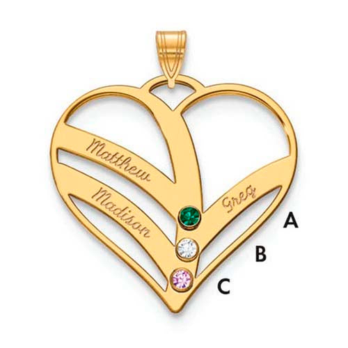 Mothers Heart Pendant With 3 Name and Birthstone