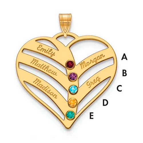 Mothers Heart Pendant With 5 Name and Birthstone