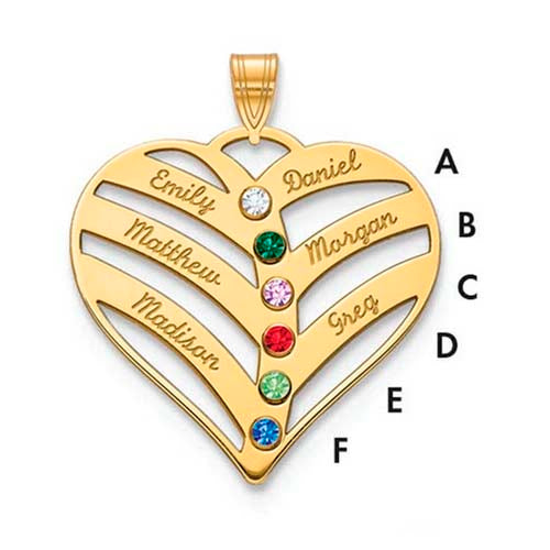 Mothers Heart Pendant With 6 Name and Birthstone