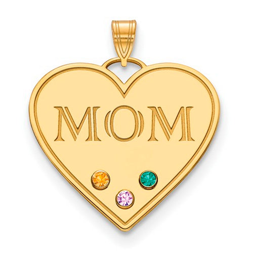 Mom Pendants with 3 birthstonse - Large