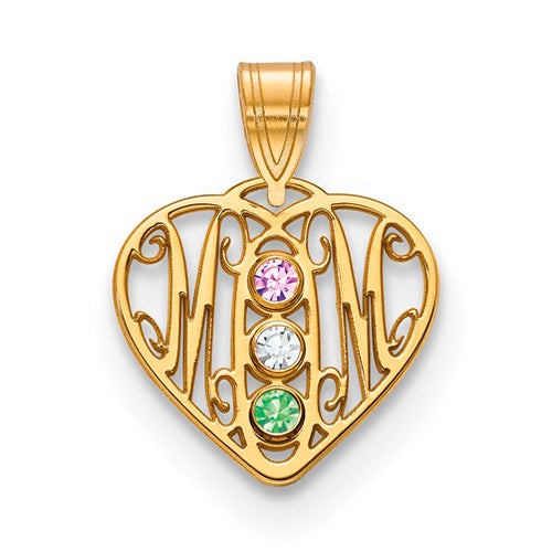 Mom Pendants with 3 birthstones - Small