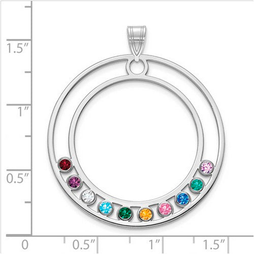 Hollow Circle Pendant with 10 birthstones