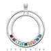 Hollow Circle Pendant with 9 birthstones