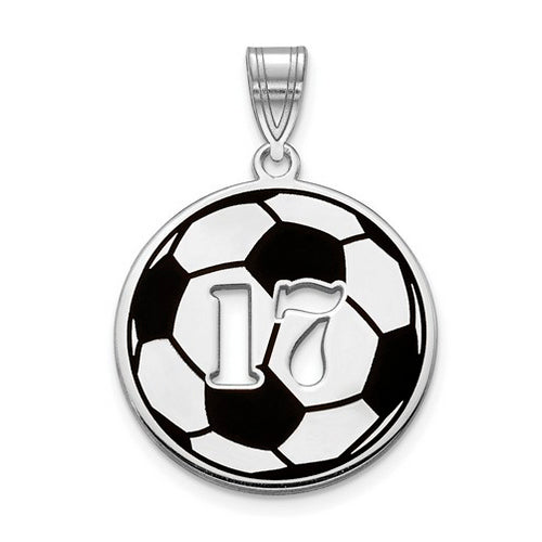 SS Epoxied Soccer Ball Charm with Number