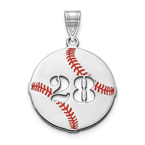 SS Epoxied Baseball Charm with Number