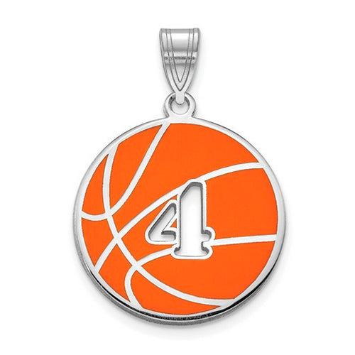 SS Epoxied BasketBall Charm with Number