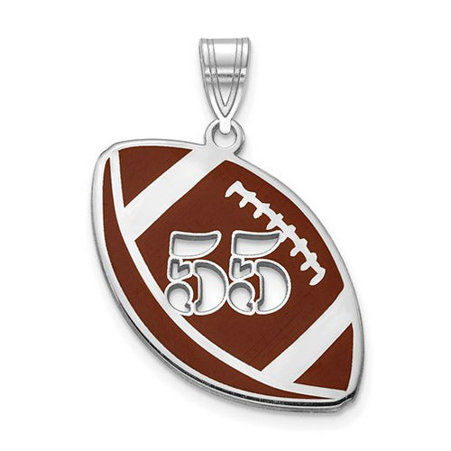 SS Epoxied Football Charm with Number