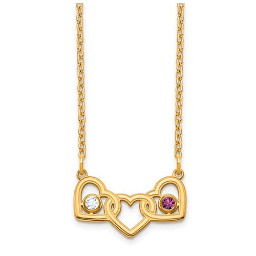 Interlocking Hearts Necklace with 2 birthstones